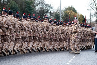 The Royal Regiment of Fusiliers on parade in England