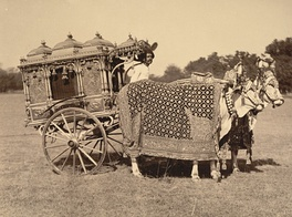 Photograph of a Rajput royal silver zenana carriage in the princely state of Baroda, India.  1895, Oriental and India Office Collection, British Library
