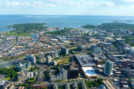 Aerial view of the Downtown and South End neighborhoods of Stamford with Long Island in the distance.