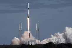 Falcon 9 lifts off from Cape Canaveral Air Force Station (CCAFS), Florida, delivering 60 Starlink satellites to orbit on 11 November 2019.