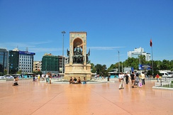 A view of Taksim Square with the Republic Monument (1928) designed by Italian sculptor Pietro Canonica.