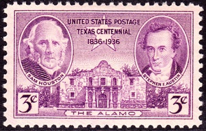 First stamp to commemorate battle was issued in 1936, the 100th anniversary of the battle, depicting Sam Houston and Stephen Austin.
