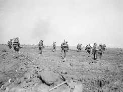 British troops moving up to the attack during the Battle of Morval, 25 September 1916.