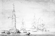 The Eddystone light drawn by Willem van de Velde the Younger probably immediately after its completion.