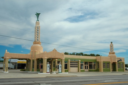 The U-Drop Inn, a roadside gas station and diner on U.S. Highway 66 in Shamrock, Texas (1936), now a historic monument