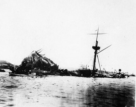 The sunken USS Maine in Havana harbor