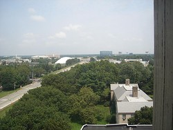 Looking east over Uniondale, as seen from one of the towers at Hofstra University