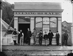 The Evening Herald staff, Wanganui, c. 1870, including John Ballance (third from left)