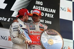 Heidfeld, who finished second in 2008 Australian Grand Prix, with race winner Lewis Hamilton on the podium
