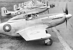 P-51Ds of 82 Squadron RAAF in Bofu, Japan, as part of the British Commonwealth Occupation Force, in 1947.