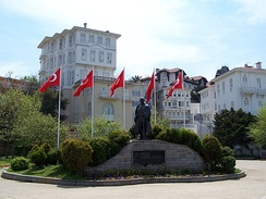 Statue of Atatürk in Büyükada, the largest of the Prince Islands to the southeast of Istanbul, which collectively form the Adalar (Isles) district of Istanbul Province.