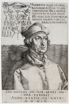 Cardinal Albrecht of Hohenzollern, Archbishop of Mainz and Magdeburg, was using part of the indulgence income to pay bribery debts;[2] portrait by Albrecht Dürer, 1519