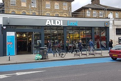 The outside of an Aldi Local, in Balham, London
