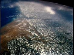 Satellite image of the mouth of the Amazon River, from the north looking south
