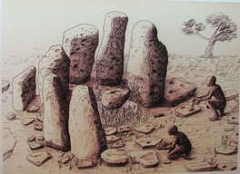 Megalithic structure at Atlit Yam, Israel