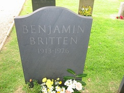 Britten's grave in St. Peter and St Paul's Church, Aldeburgh, Suffolk