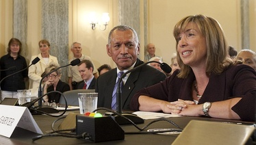 Charles Bolden, nominee for Administrator of NASA, center, and Lori Garver, right, nominee for deputy administrator of NASA, testify at their confirmation hearing before the Committee in 2009.