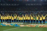 Players at the podium with the first Olympic Gold of the Brazil national football team, won in the 2016 Summer Olympics. Football is the most popular sport in the country.