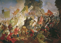 Siege of Pskov, painting by Karl Brullov, depicts the siege from the Russian perspective – terrified running Poles and Lithuanians, and heroic Russian defenders under the Orthodox Christian religious banners.