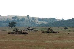 T-72 tanks advance towards the OPFOR on an exercise