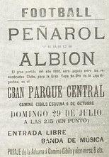 Poster announcing a match between Albion and CURCC, 1900.