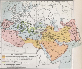 Old map of western Eurasia and northern Africa showing the expansion of the Caliphate from Arabia to cover most of the Middle East, with the Byzantine Empire outlined in green