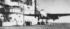 "The first carrier landing and takeoff of a jet aircraft in 1945 – Eric ""Winkle"" Brown taking off from HMS Ocean"
