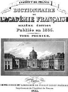 Title page of the 6th edition of the Académie's dictionary (1835)