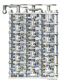 A portion of Babbage's Difference engine.