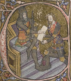 14th-century manuscript historiated initial showing Edward, the Black Prince kneeling before his father, Edward III
