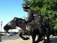 Boomer, a sculpture by Harold T. Holden sits in downtown Enid by the Cherokee Strip Conference Center.