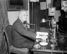 FDR prepares to speak about the establishment of the work relief program and Social Security at his fireside chat of April 28, 1935.
