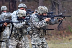 Troopers of the 82nd Airborne Division training on Fort Bragg, March 2011