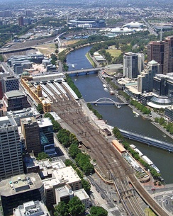 Western approach to Flinders Street station
