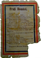 Airborne leaflet spread over Braşov in August 1916, calling on the local Romanian population to support the Romanian Army offensive