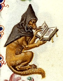 A studious fox in a monk's cowl, in the margins of a Book of hours, Utrecht, c 1460