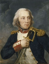 Painting shows a clean-shaven man with a long nose and long white hair clutching a sword to his chest with his right hand. He wears a dark blue military uniform with white lapels and an epaulette on his left shoulder.