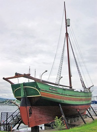 Gjøa, the small sloop in which Amundsen and his crew conquered the Northwest Passage, 1903–06