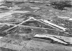 Oblique aerial photo of Great Falls AAB, looking south-westward, about 1944