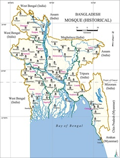 A map showing historical mosques in Bangladesh