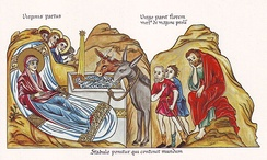 Nativity of Christ, medieval illustration from the Hortus deliciarum of Herrad of Landsberg (12th century)