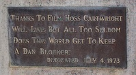 Hoss Cartwright and Dan Blocker plaque in O'Donnell, Texas, 1973