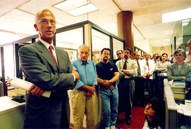 Chronicle CEO John Sias announces the sale of the newspaper to the Hearst Corporation, August 6, 1999