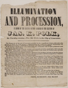 Broadside announcing torchlight victory parade in Lancaster, Pennsylvania