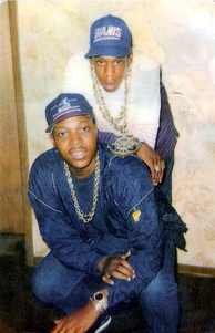 Jay-Z (top) with a friend (bottom) in Trenton, New Jersey, circa 1988