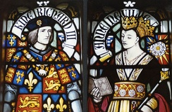 Stained glass depiction of Richard and Anne Neville in Cardiff Castle