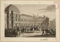 Journées des 31 Mai, 1er et 2 Juin 1793, an engraving of the Convention surrounded by National Guards, forcing the deputies to arrest the Girondins and to establish an armed force of 6,000 men. The insurrection was organized by the Paris Commune and supported by Montagnards.