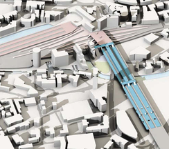 A graphical mockup showing how new HS2 platforms (blue) will be joined to the existing Leeds station platforms (pink).
