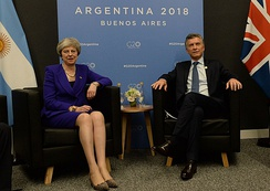 May with the President of Argentina, Mauricio Macri during the 2018 G20 Buenos Aires summit. May is the first British Prime Minister to visit Argentina after the Falklands War.[189]