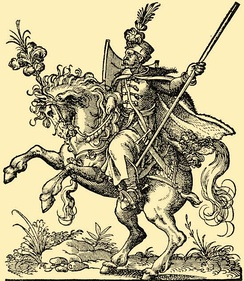 Hungarian hussar in the 16th century. Woodcut by Jost Amman